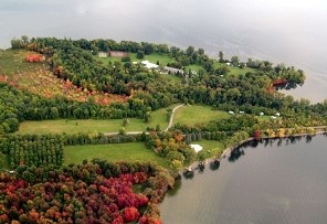 Aerial shot of Camp Abnaki in North Hero, Vermont
