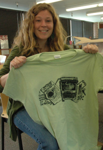 Poet Amanda Vella shows off a BWW t-shirt, which she designed.