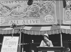 Carnival Barker at the Vermont State Fair, 1941