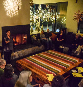 Deena Frankel, BWW oral storytelling workshop leader, shares a holiday-themed stories at Hotel Vermont