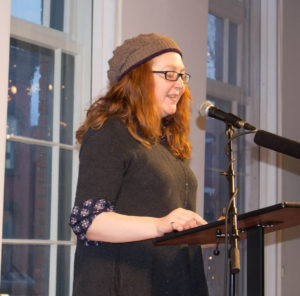 "Natasha Mieszkowski reads her short story ""Bug"" at the launch party on April 29, 2016."